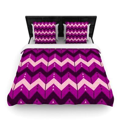 Chevron Dance Woven Comforter Duvet Cover Size: King, Color: Purple