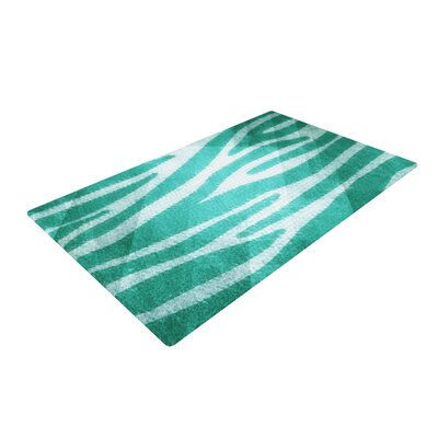 Blue Zebra Print Texture Area Rug Rug Size: 4 x 6