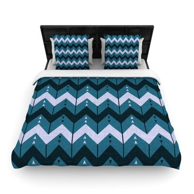 Chevron Dance Woven Comforter Duvet Cover Size: Twin, Color: Blue