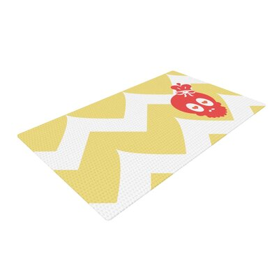 Nick Atkinson Skull II Chevron Yellow Area Rug Rug Size: 2 x 3