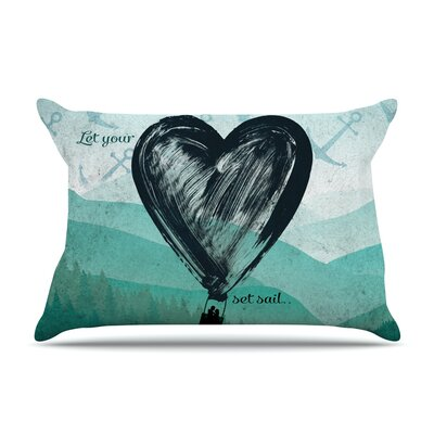 Heart Set Sail Pillow Case Size: Standard