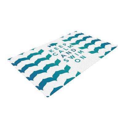 Nick Atkinson Keep Calm and Swim on Teal/White Area Rug Rug Size: 2 x 3