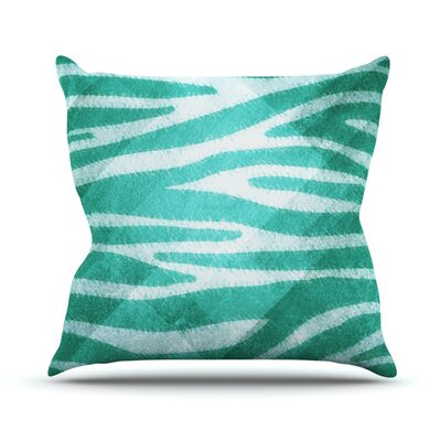 Zebra Texture Throw Pillow Size: 16 H x 16 W, Color: Blue