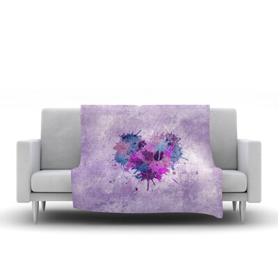 Painted Heart Throw Blanket Size: 40 L x 30 W