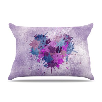 Painted Heart by Nick Atkinson Featherweight Pillow Sham Size: Queen, Fabric: Woven Polyester