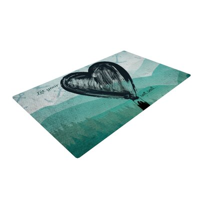 Nick Atkinson Heart Set Sail Green/Black Area Rug Rug Size: 4 x 6