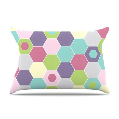 Pale Bee Hex. by Nicole Ketchum Featherweight Pillow Sham Size: Queen, Fabric: Woven Polyester