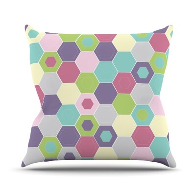 Pale Bee Hex Throw Pillow Size: 18 H x 18 W