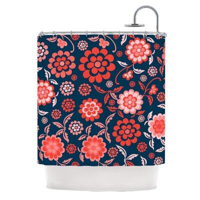 Cherry Floral Shower Curtain Color: Midnight