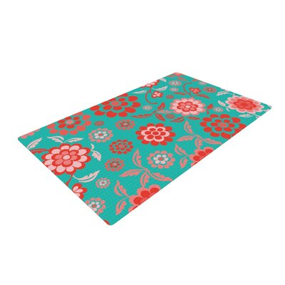 Nicole Ketchum Cherry Floral Sea Green/Red Area Rug Rug Size: 4 x 6