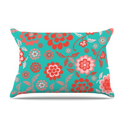 Cherry Floral Pillow Case Size: King, Color: Sea
