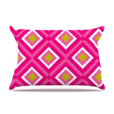 Moroccan Hot Pink Tile by Nicole Ketchum Featherweight Pillow Sham Size: King, Fabric: Woven Polyester