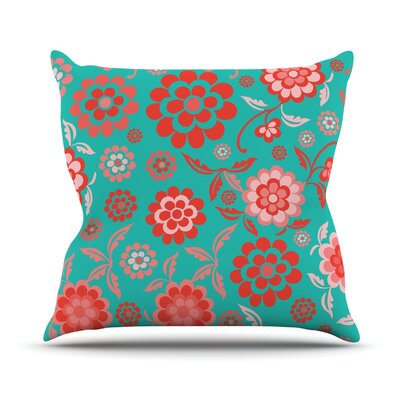 Cherry Floral Throw Pillow Size: 16 H x 16 W, Color: Sea