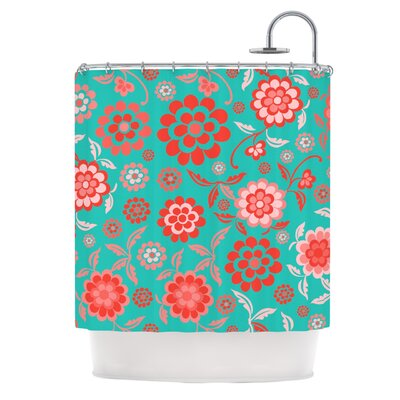 Cherry Floral Shower Curtain Color: Sea