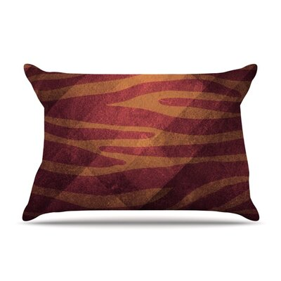 Red Zebra Texture by Nick Atkinson Featherweight Pillow Sham Size: Queen, Fabric: Woven Polyester