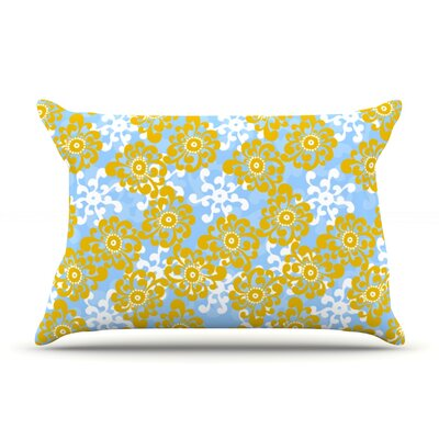 Blue and Yellow Flowers Alternate by Nandita Singh Featherweight Pillow Sham Size: King, Fabric: Woven Polyester