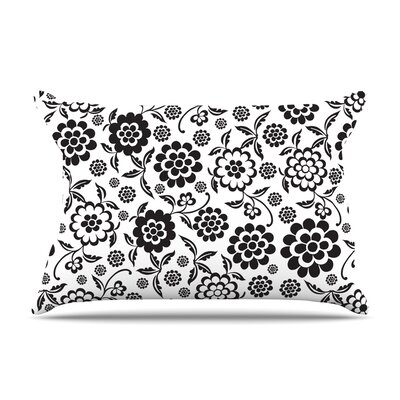 Cherry Floral White Pillow Case Size: King