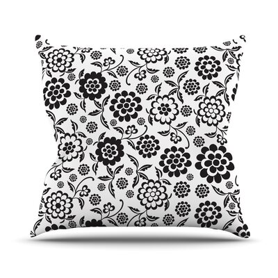 Cherry Floral White Throw Pillow Size: 18 H x 18 W