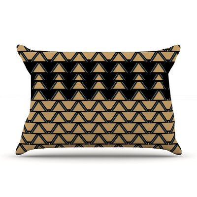 Deco Angles Gold Black Pillow Case Size: King