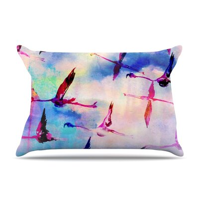 Flamingo in Flight by Nikki Strange Featherweight Pillow Sham Size: King, Fabric: Woven Polyester
