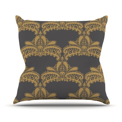 Decorative Motif by Nandita Singh Throw Pillow Size: 26 H x 26 W x 5 D, Color: Gold