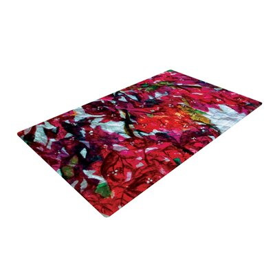 Mary Bateman Bougainvillea Red/White Area Rug Rug Size: 2 x 3