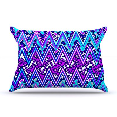 Electric Chevron Pillow Case Color: Blue, Size: King