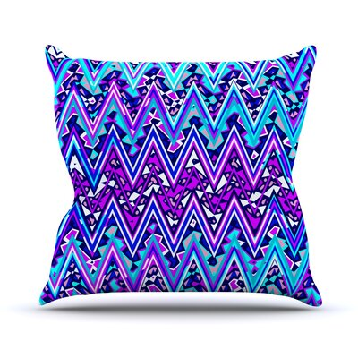 Electric Chevron Throw Pillow Size: 18 H x 18 W, Color: Blue