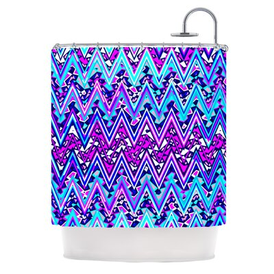 Electric Chevron Shower Curtain Color: Blue