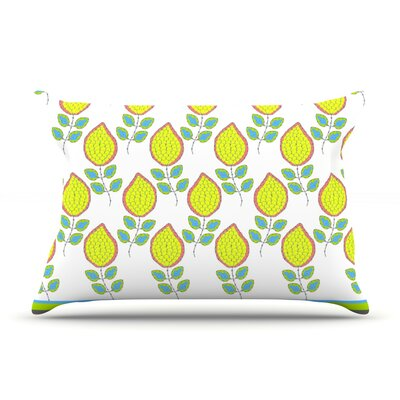 Nandita Singh Yellow Leaves Bright Floral Pillow Case
