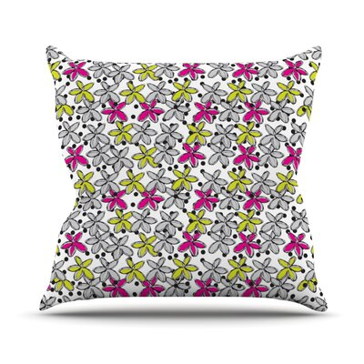 Floral Spread by Nandita Singh Throw Pillow Size: 18 H x 18 W x 3 D