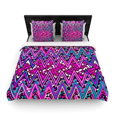 Electric Chevron Woven Comforter Duvet Cover Color: Pink, Size: Full/Queen