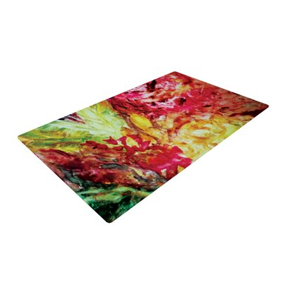 Mary Bateman Passion Flowers I Red/Yellow Area Rug Rug Size: 2 x 3