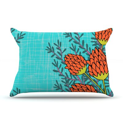 Nandita Singh Red Flowers Pillow Case