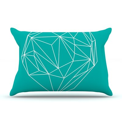 Heart Graphic Turquoise by Mareike Boehmer Featherweight Pillow Sham Size: Queen, Fabric: Woven Polyester