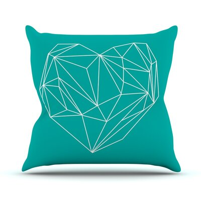Heart Graphic Turquoise by Mareike Boehmer Abstract Throw Pillow Size: 20 H x 20 W x 4 D
