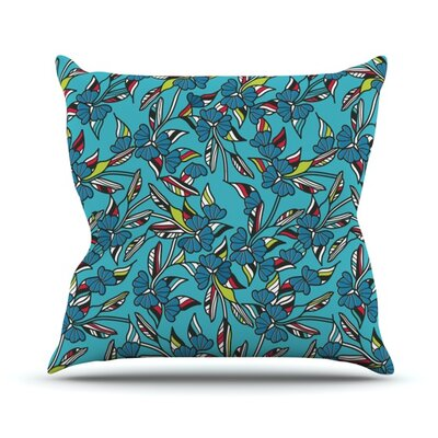 Paper Leaf Throw Pillow Size: 18 H x 18 W, Color: Blue