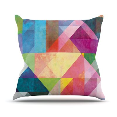 Color Blocking Rainbow Abstract Outdoor Throw Pillow Size: 18 H x 18 W x 3 D