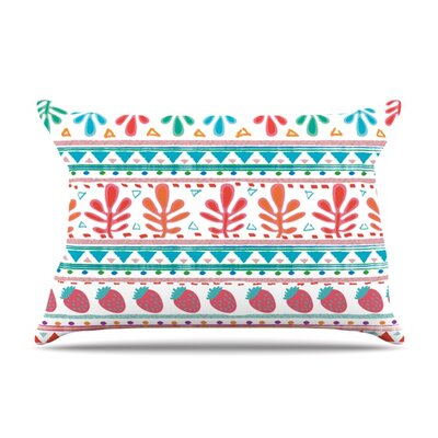 Spring Strawberries by Nika Martinez Featherweight Pillow Sham Size: Queen, Fabric: Woven Polyester