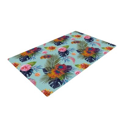 Nika Martinez Tropical Floral Blue Area Rug Rug Size: 4 x 6
