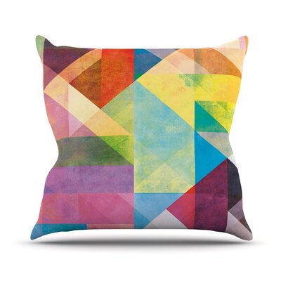 Color Blocking II by Mareike Boehmer Rainbow Abstract Throw Pillow Size: 16 H x 16 W x 3 D