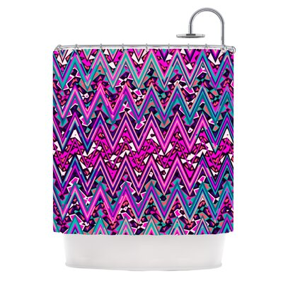 Electric Chevron Shower Curtain Color: Pink