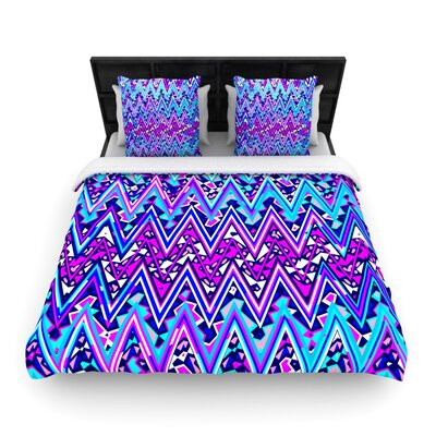 Electric Chevron Woven Comforter Duvet Cover Size: King, Color: Blue