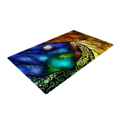 Mandie Manzano Psalms Blue/Yellow Area Rug Rug Size: 2 x 3