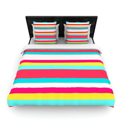 Nika Martinez Woven Comforter Duvet Cover Size: Full/Queen, Color: GIrly Surf Stripes