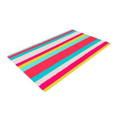Nika Martinez Girly Surf Stripes Red/Blue Area Rug Rug Size: 2 x 3