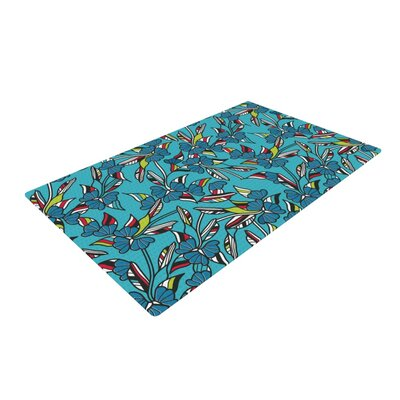 Michelle Drew Paper Leaf Blue Area Rug Rug Size: 4 x 6