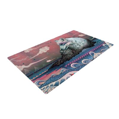 Mat Miller Lone Wolf Pink/Gray Area Rug Rug Size: 2 x 3
