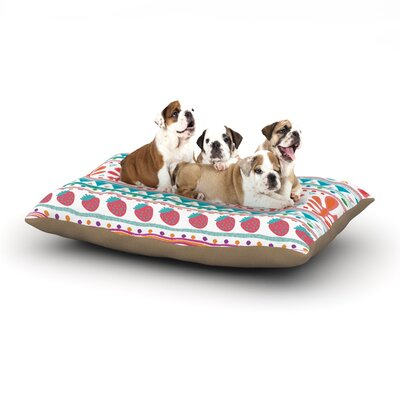 Nika Martinez Spring Strawberries Dog Pillow with Fleece Cozy Top Size: Small (40 W x 30 D x 8 H)