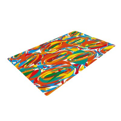 Matthias Hennig Go Left Crazy Red/Yellow Area Rug Rug Size: 2 x 3